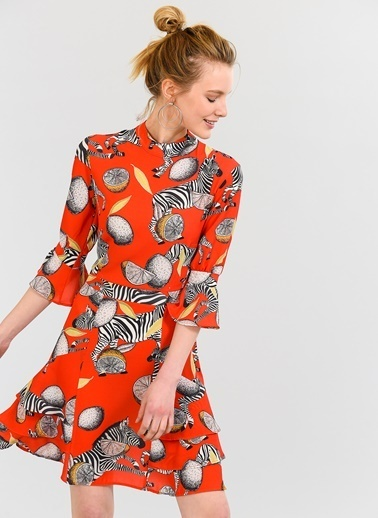 Agenda Zebra Desenli Volanlı Elbise Kırmızı